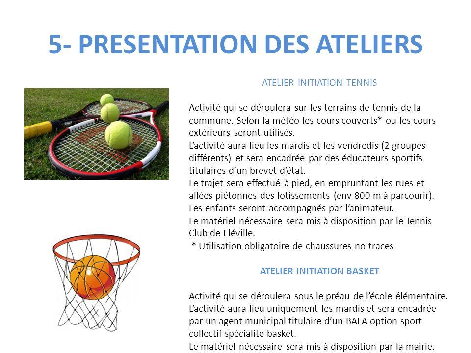 5- PRESENTATION DES ATELIERS