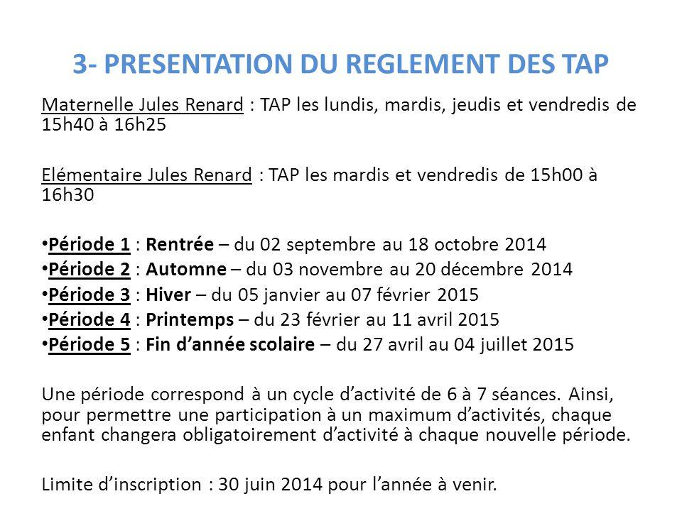 3- PRESENTATION DU REGLEMENT DES TAP
