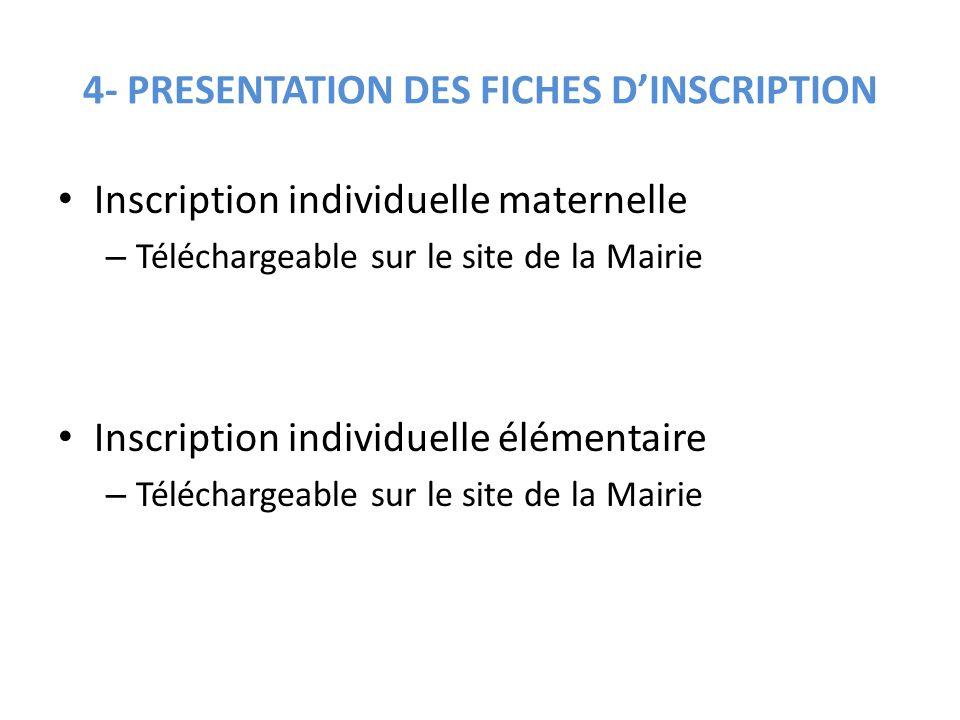 4- PRESENTATION DES FICHES D'INSCRIPTION