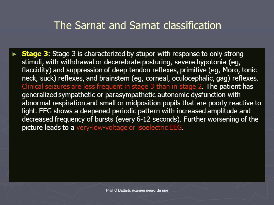 The Sarnat and Sarnat classification