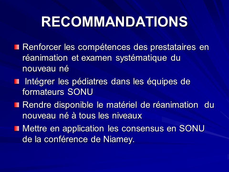 RECOMMANDATIONS Renforcer les compétences des prestataires en réanimation et examen systématique du nouveau né.