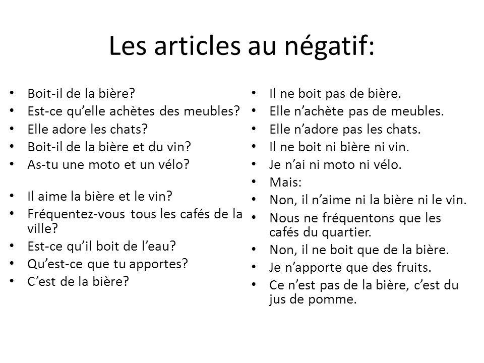 Les articles au négatif: