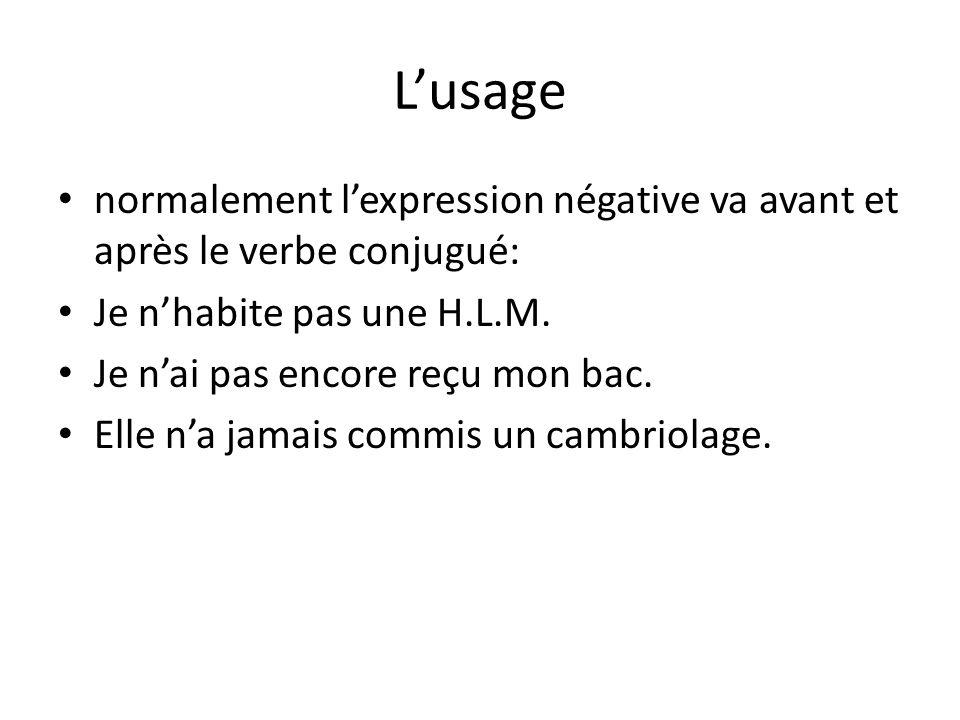 L'usage normalement l'expression négative va avant et après le verbe conjugué: Je n'habite pas une H.L.M.
