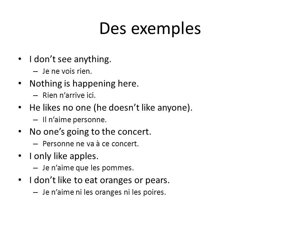 Des exemples I don't see anything. Nothing is happening here.