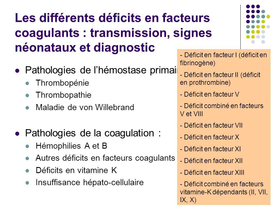 Les différents déficits en facteurs coagulants : transmission, signes néonataux et diagnostic