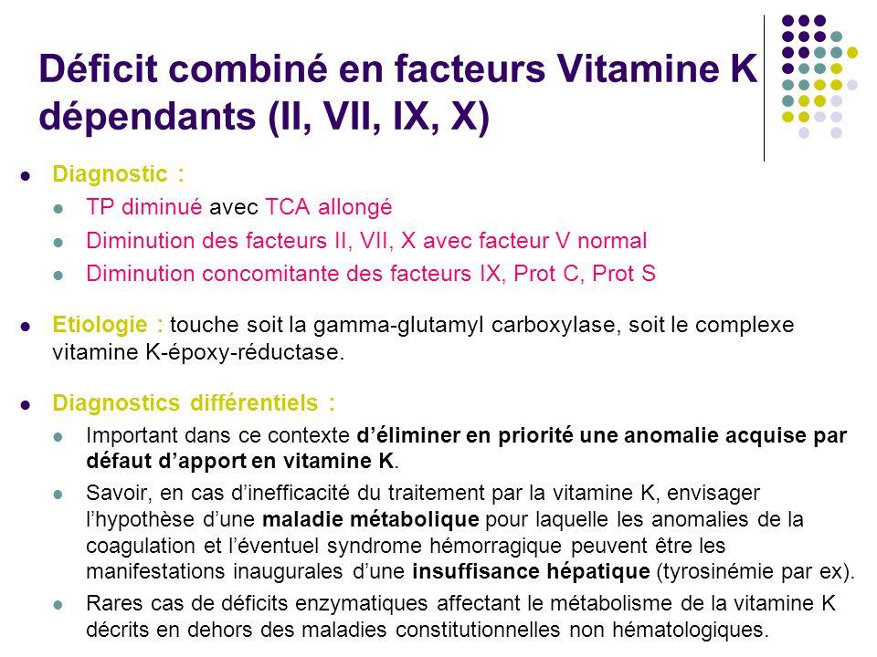 Déficit combiné en facteurs Vitamine K dépendants (II, VII, IX, X)