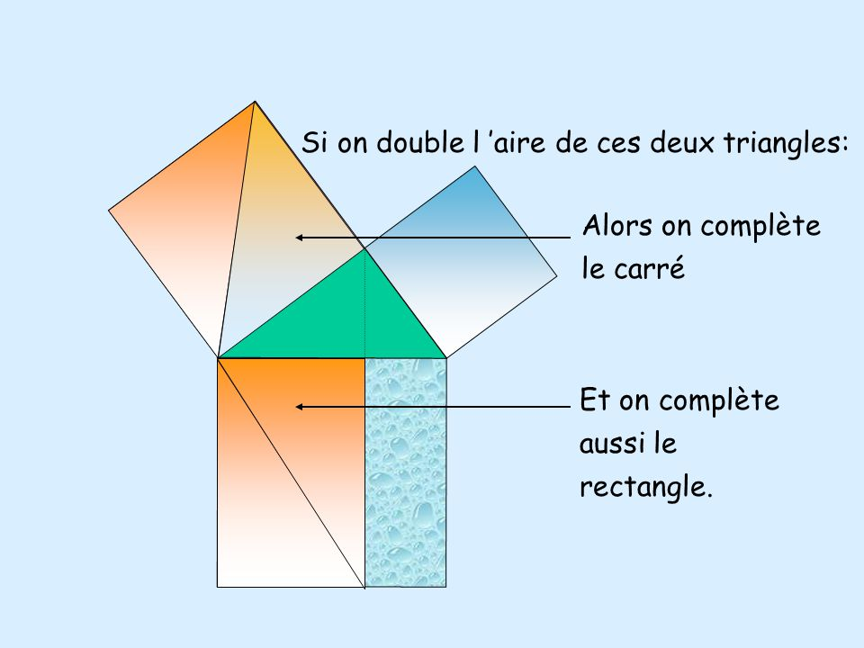 Si on double l 'aire de ces deux triangles: