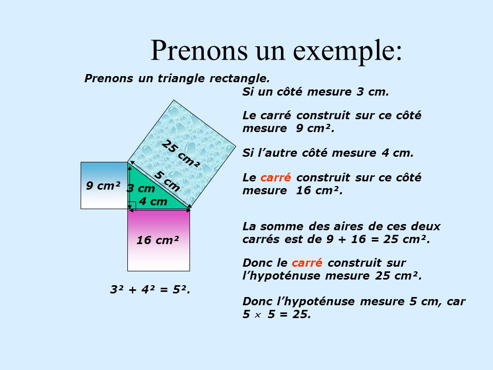 Prenons un exemple: Prenons un triangle rectangle.