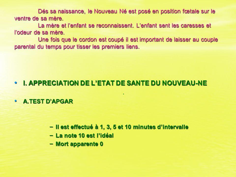 I. APPRECIATION DE L'ETAT DE SANTE DU NOUVEAU-NE