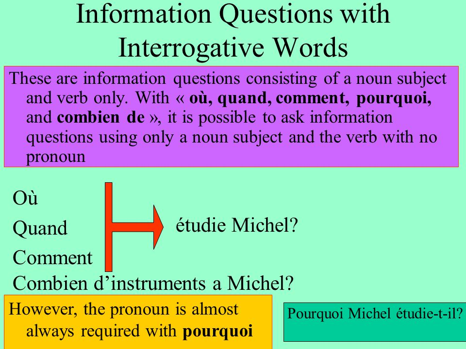 Information Questions with Interrogative Words