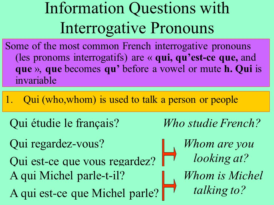 Information Questions with Interrogative Pronouns