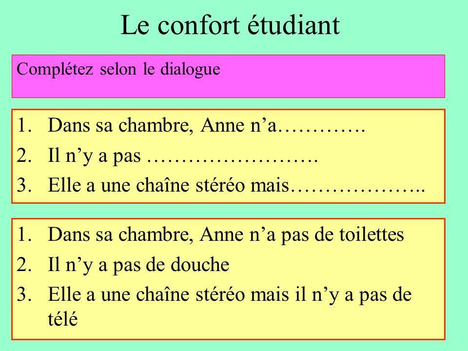 Le confort étudiant Dans sa chambre, Anne n'a………….