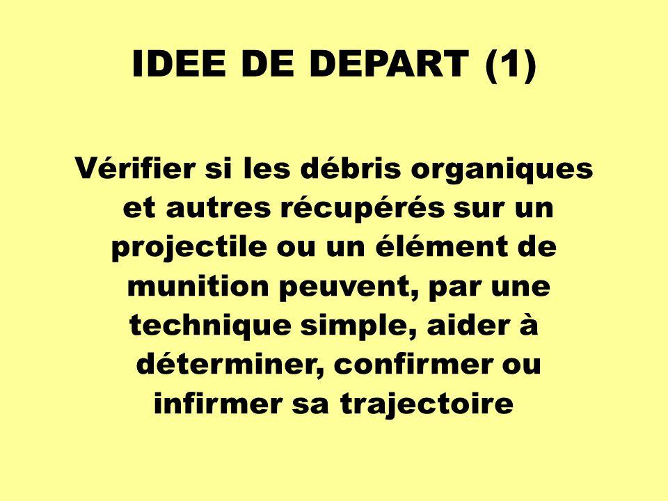IDEE DE DEPART (1) Vérifier si les débris organiques