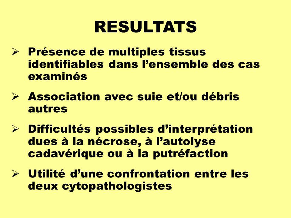 RESULTATS Présence de multiples tissus identifiables dans l'ensemble des cas examinés. Association avec suie et/ou débris autres.