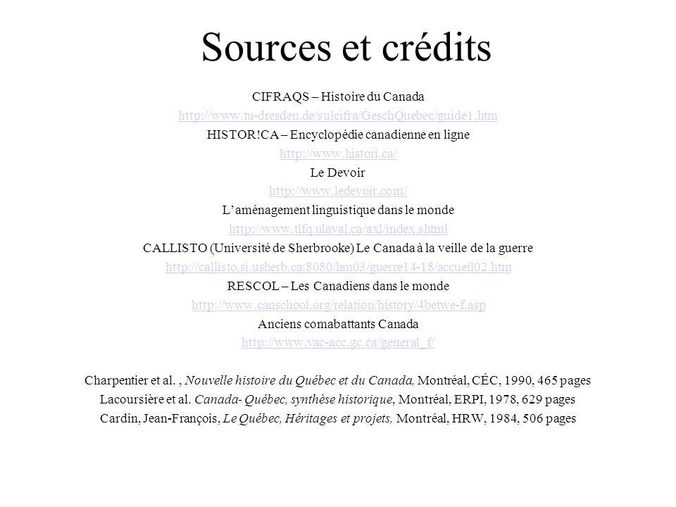 Sources et crédits CIFRAQS – Histoire du Canada
