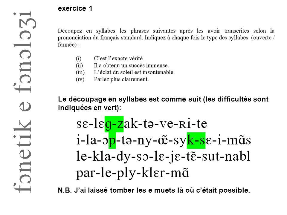 exercice 1 Le découpage en syllabes est comme suit (les difficultés sont indiquées en vert):
