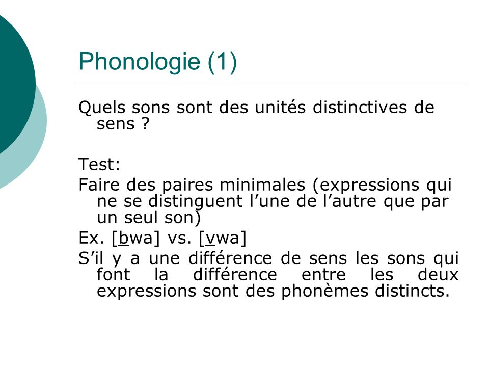 Phonologie (1) Quels sons sont des unités distinctives de sens Test: