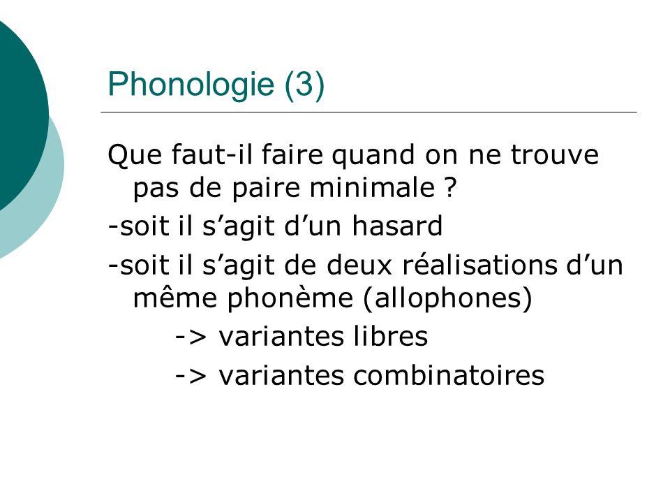 Phonologie (3) Que faut-il faire quand on ne trouve pas de paire minimale -soit il s'agit d'un hasard.