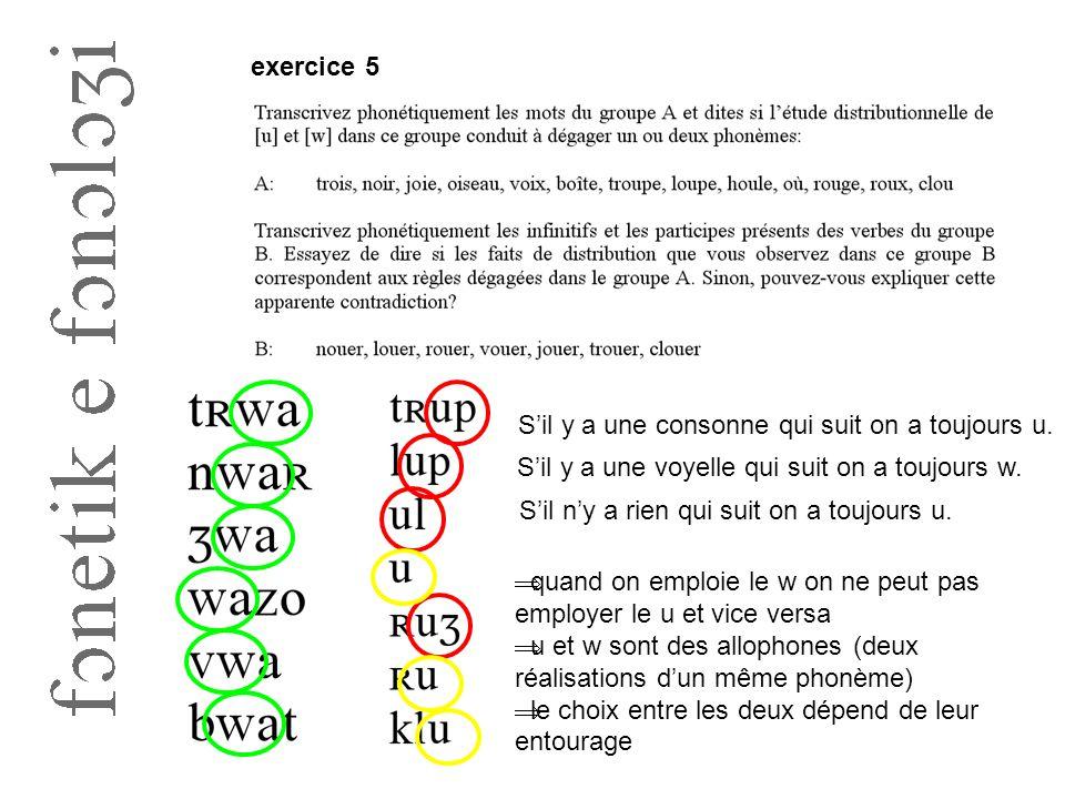 exercice 5 S'il y a une consonne qui suit on a toujours u. S'il y a une voyelle qui suit on a toujours w.