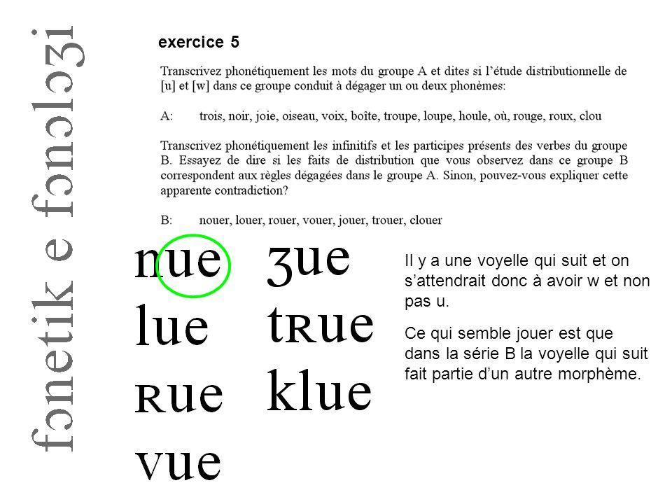 exercice 5 Il y a une voyelle qui suit et on s'attendrait donc à avoir w et non pas u.