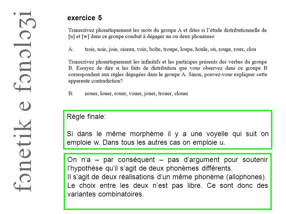 exercice 5 Règle finale: Si dans le même morphème il y a une voyelle qui suit on emploie w. Dans tous les autres cas on emploie u.