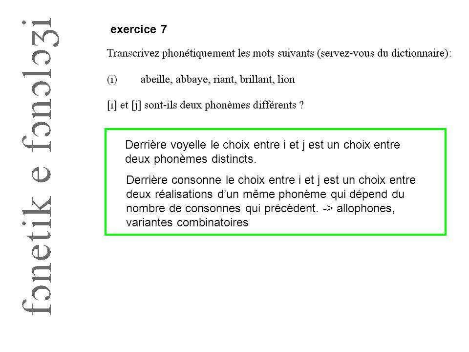 exercice 7 Derrière voyelle le choix entre i et j est un choix entre deux phonèmes distincts.