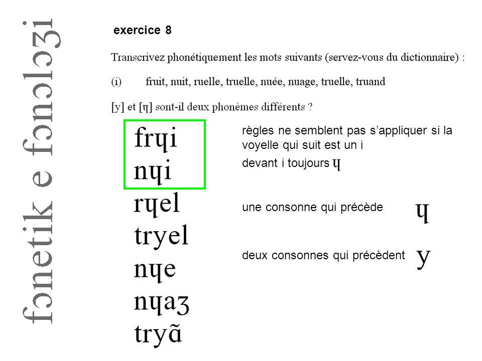 exercice 8 règles ne semblent pas s'appliquer si la voyelle qui suit est un i. devant i toujours. une consonne qui précède.