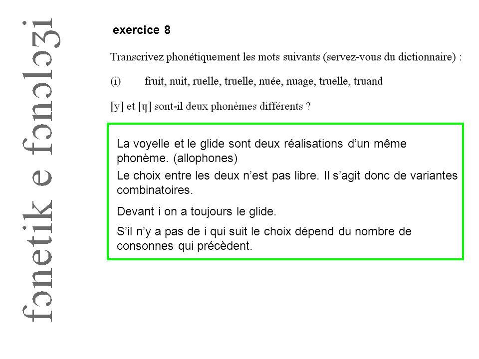 exercice 8 La voyelle et le glide sont deux réalisations d'un même phonème. (allophones)