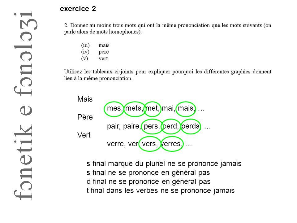 exercice 2 Mais. mes, mets, met, mai, mais, … Père. pair, paire, pers, perd, perds, … Vert. verre, ver, vers, verres, …