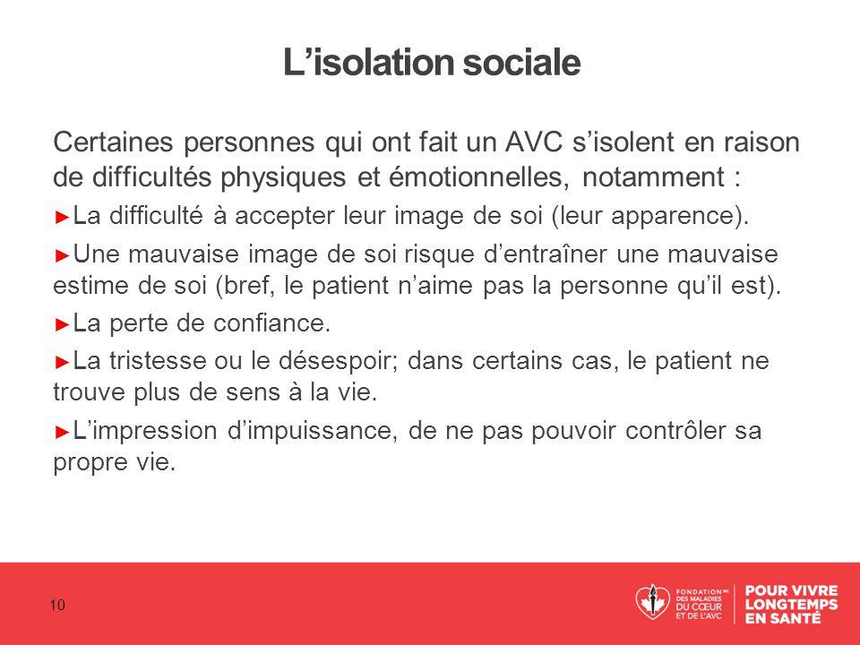 L'isolation sociale Certaines personnes qui ont fait un AVC s'isolent en raison de difficultés physiques et émotionnelles, notamment :