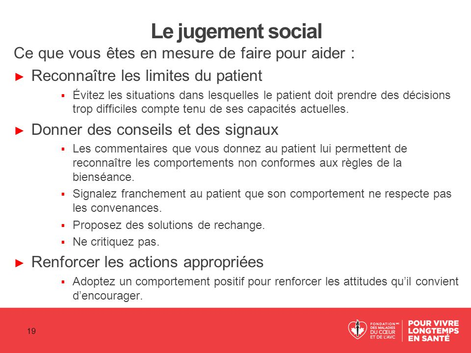 Le jugement social Ce que vous êtes en mesure de faire pour aider :
