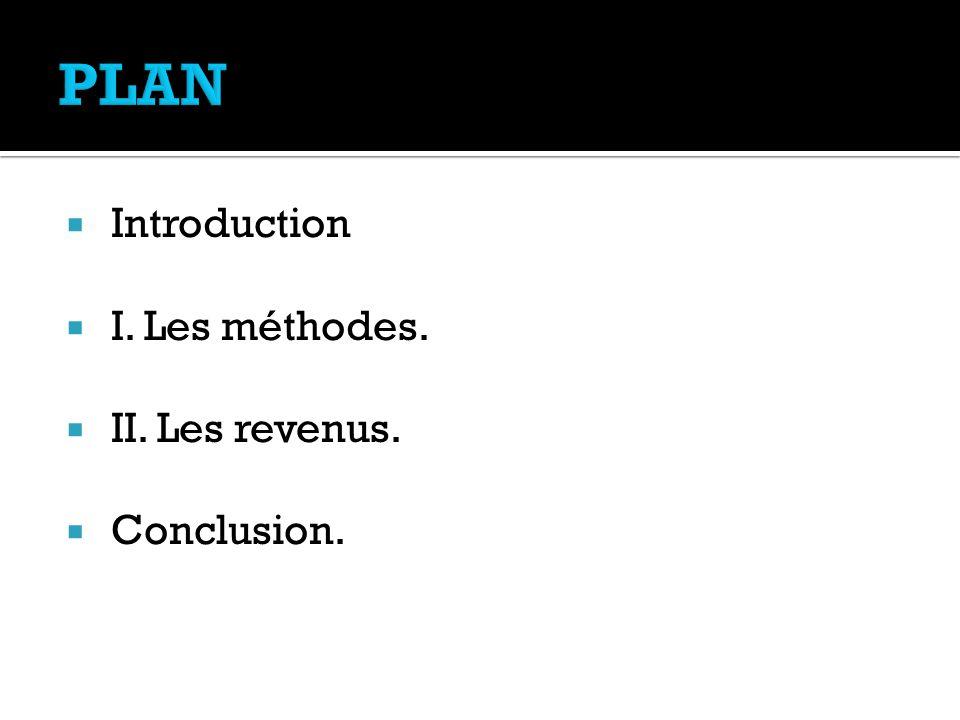 PLAN Introduction I. Les méthodes. II. Les revenus. Conclusion.