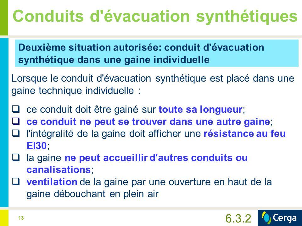 Conduits d évacuation synthétiques