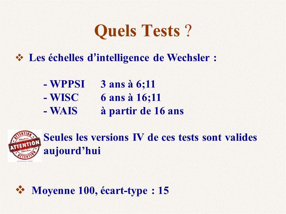 Quels Tests - WPPSI 3 ans à 6;11 - WISC 6 ans à 16;11