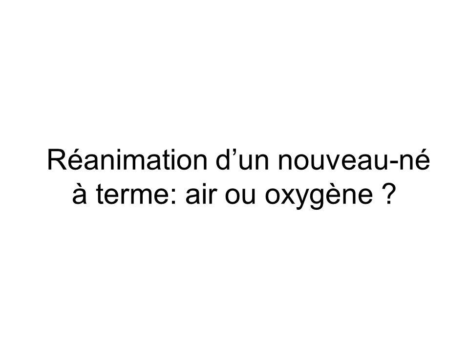 Réanimation d'un nouveau-né à terme: air ou oxygène