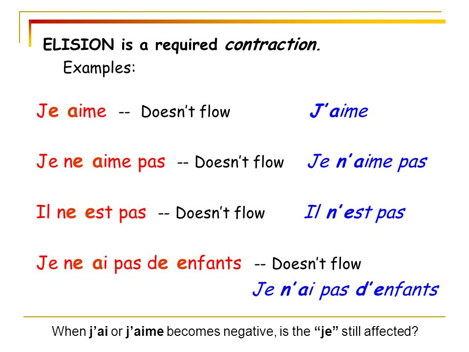Je aime -- Doesn't flow J' aime