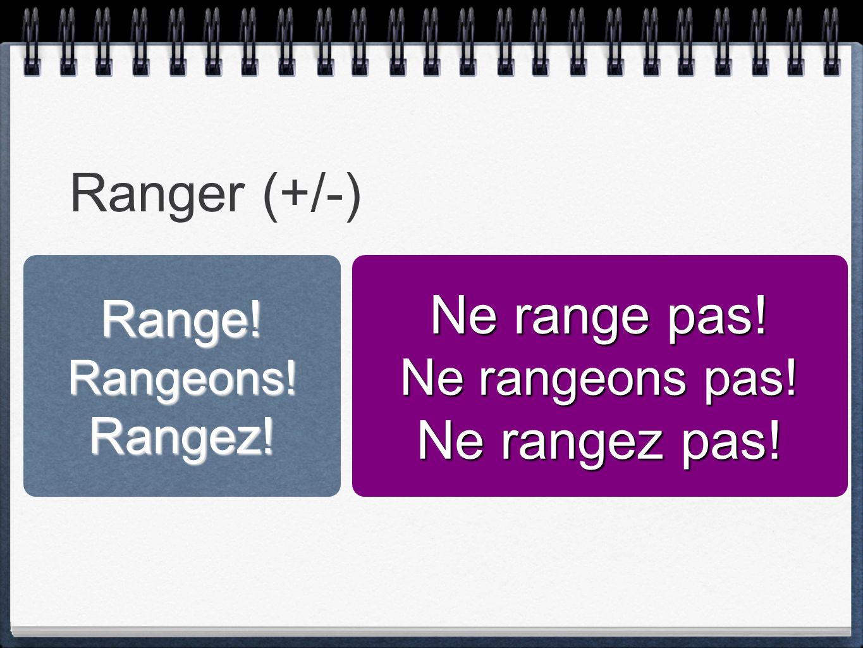 Ranger (+/-) Ne range pas! Ne rangez pas! Range! Ne rangeons pas!