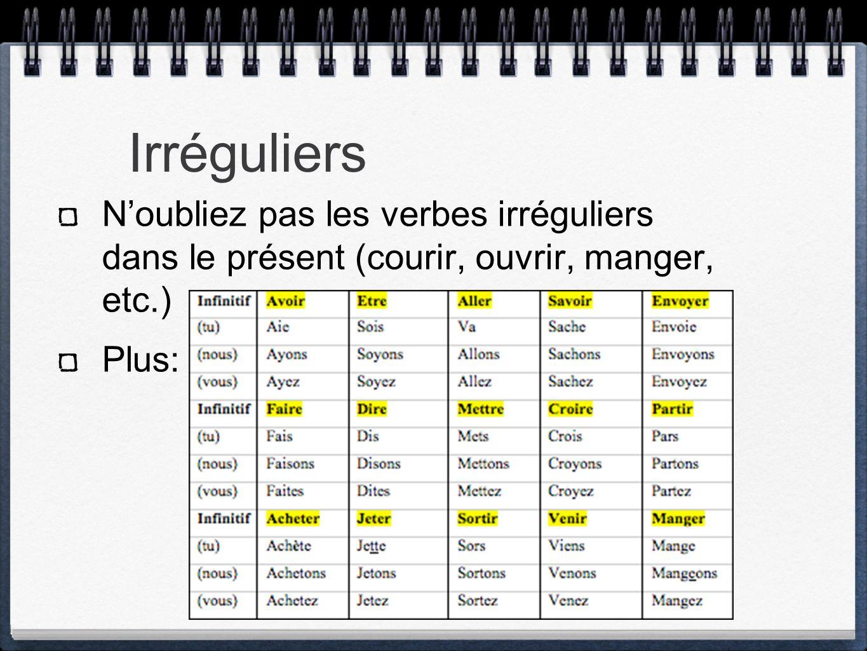 Irréguliers N'oubliez pas les verbes irréguliers dans le présent (courir, ouvrir, manger, etc.) Plus: