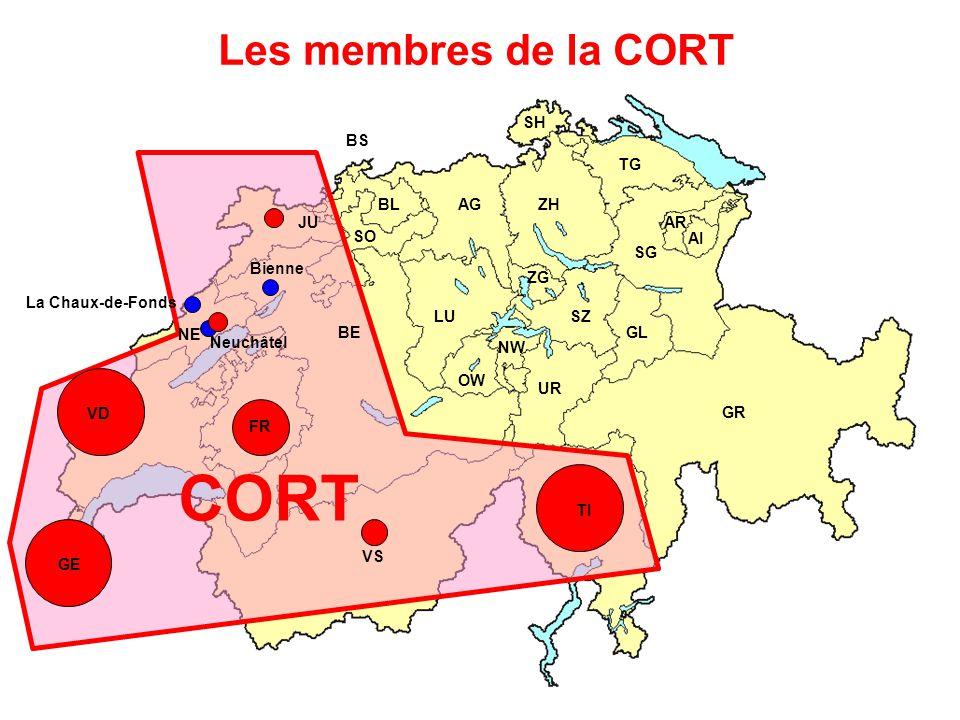 CORT Les membres de la CORT SH BS TG BL AG ZH JU AR SO AI SG Bienne ZG