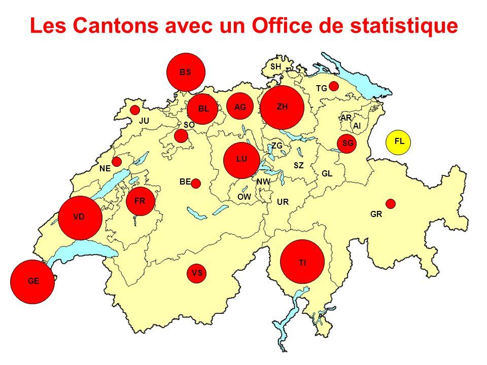 Les Cantons avec un Office de statistique