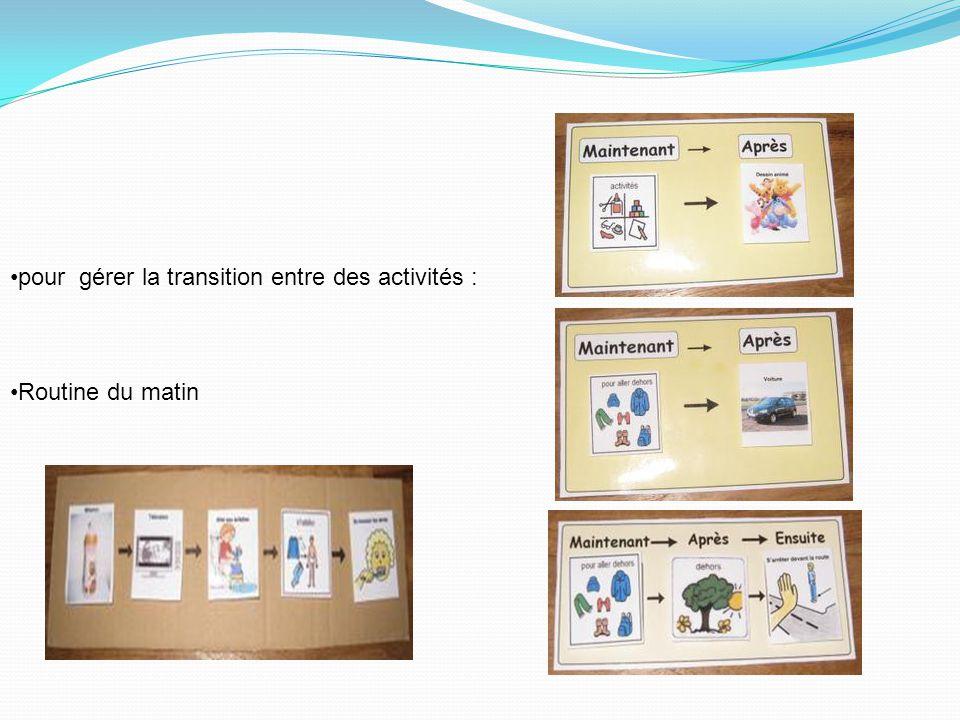 pour gérer la transition entre des activités :
