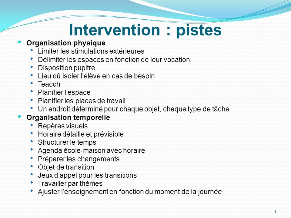 Intervention : pistes Organisation physique Organisation temporelle