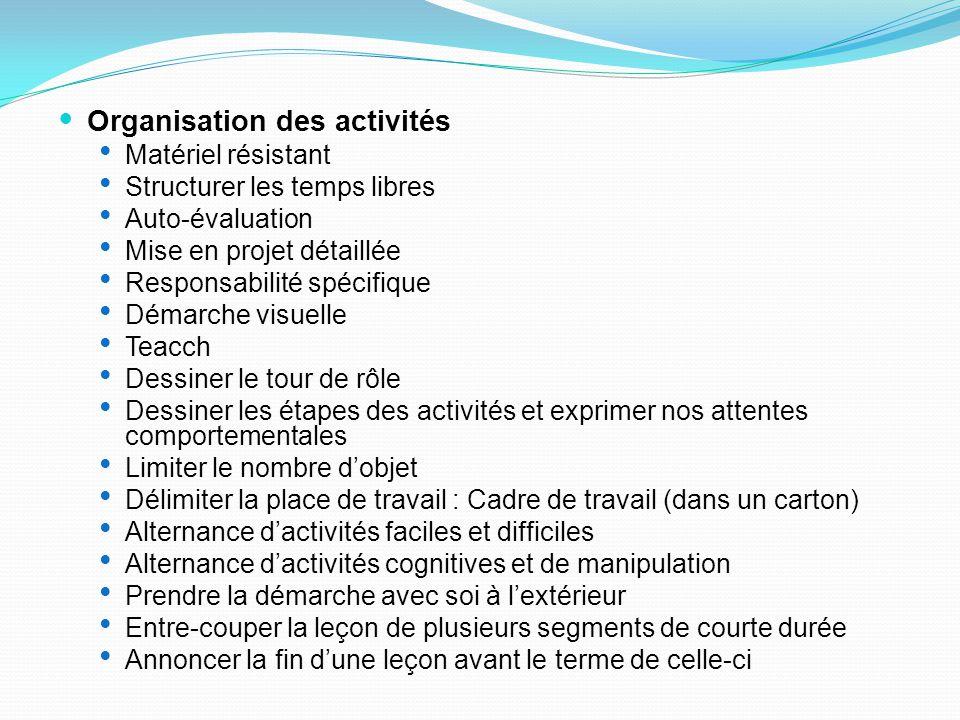 Organisation des activités