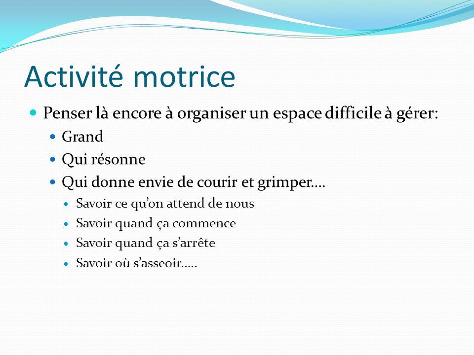 Activité motrice Penser là encore à organiser un espace difficile à gérer: Grand. Qui résonne. Qui donne envie de courir et grimper….