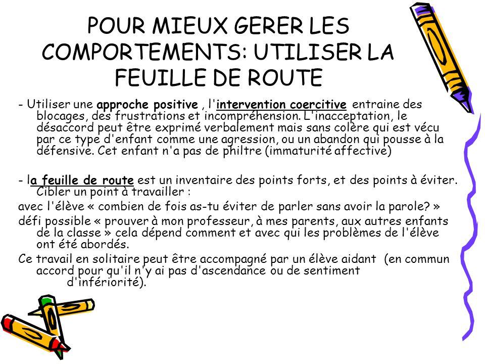 POUR MIEUX GERER LES COMPORTEMENTS: UTILISER LA FEUILLE DE ROUTE