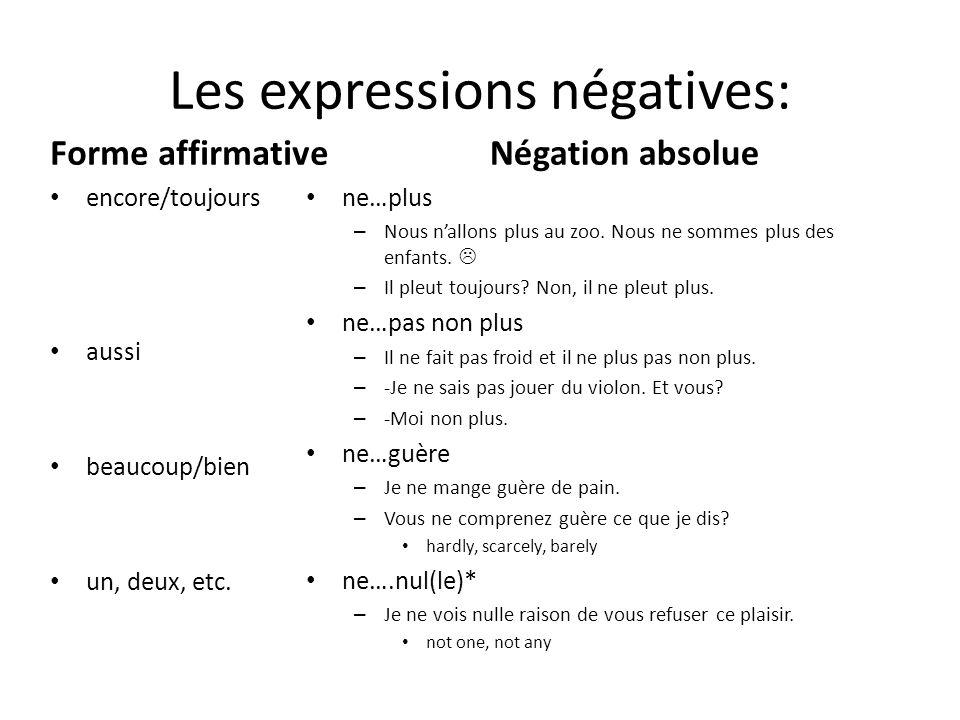 Les expressions négatives: