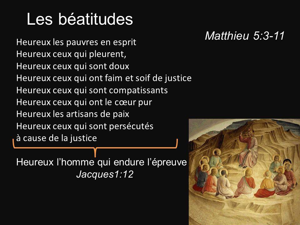 Les béatitudes Matthieu 5:3-11 Heureux les pauvres en esprit
