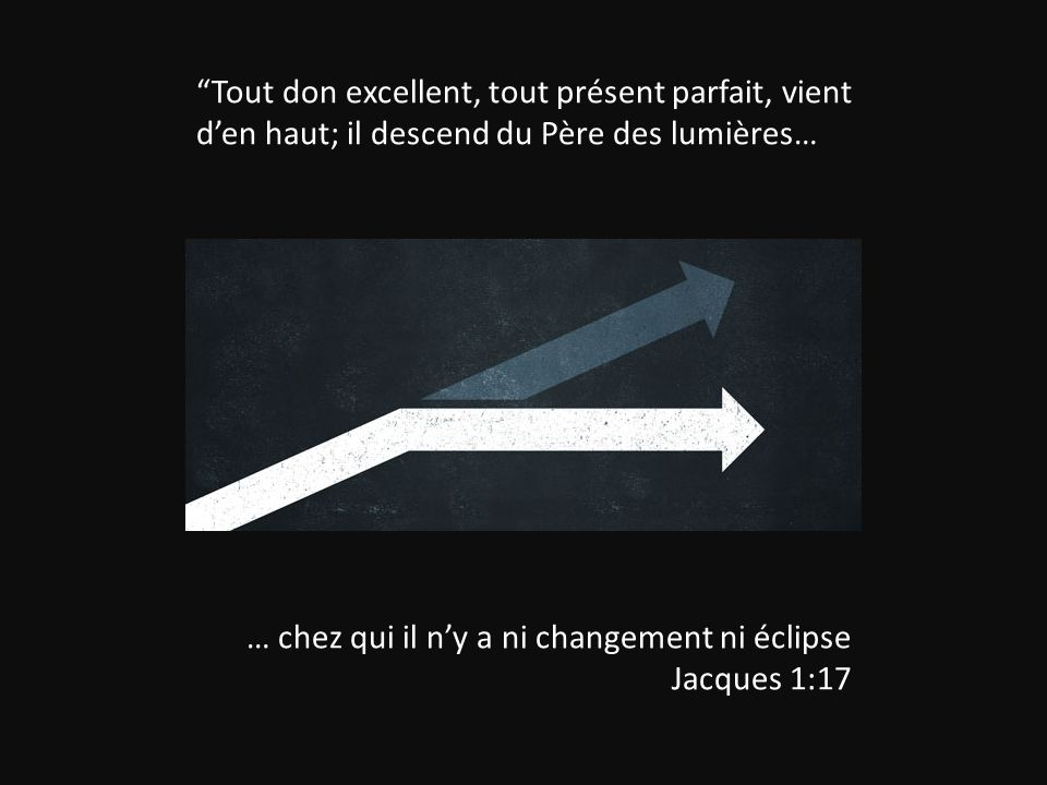 Tout don excellent, tout présent parfait, vient d'en haut; il descend du Père des lumières…