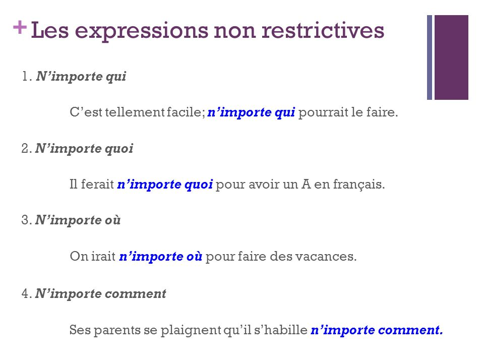Les expressions non restrictives