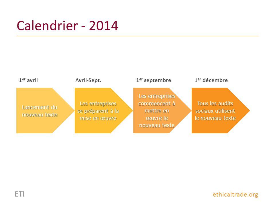 Calendrier - 2014 ETI ethicaltrade.org 1er avril Avril-Sept.
